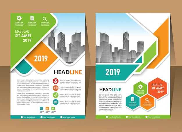 Annual report template geometric shape design business brochure cover