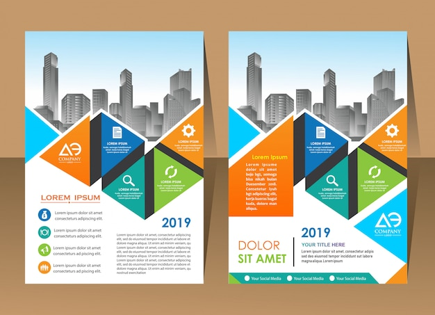 Annual report template geometric triangle design business brochure cover