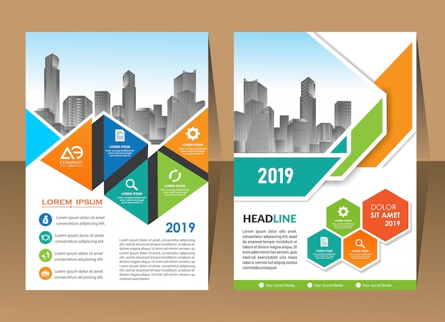 Annual report template, geometric triangle design business brochure cover