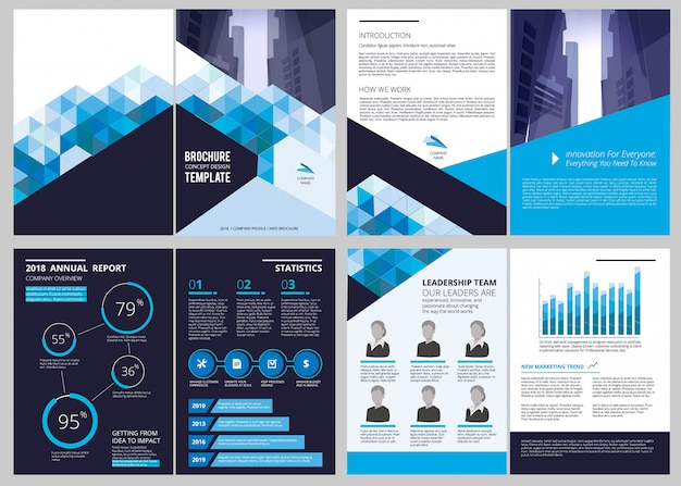 Annual report template. simple document financial magazine cover business brochure  design layout