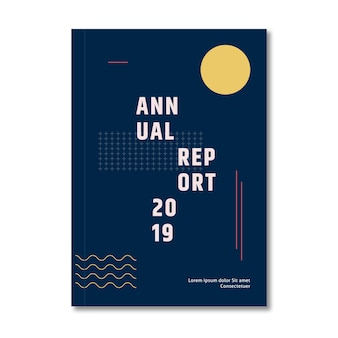 Annual report template with abstract moon and memphis effect