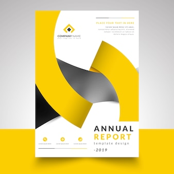 Annual report template with creative design ribbon