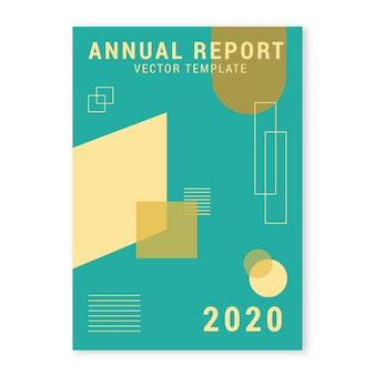 Annual report template with geometric shapes
