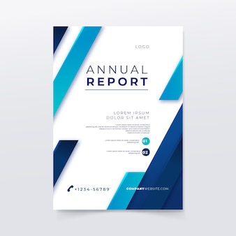Annual report template with lines and colors