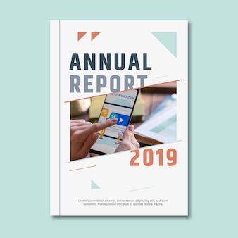 Annual report template with mobile phone device