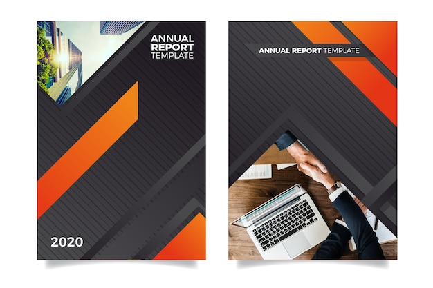 Annual report template with people shaking hands