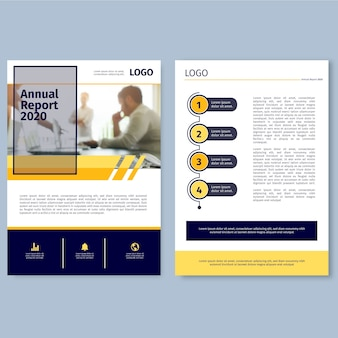 Annual report template with photo concept