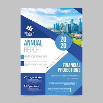 Annual report template with photo design