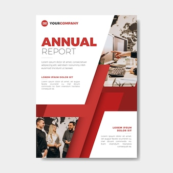 Annual report template with photo style