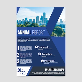 Annual report template with photo theme