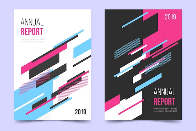 Annual report with geometric colourful lines template