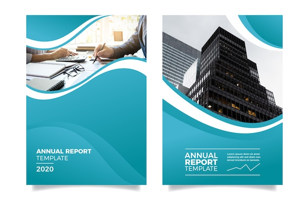 Annual report with people and buildings