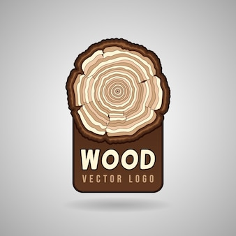 Annual tree growth rings, trunk cross section in vector logo template. tree in a cut, illustration r