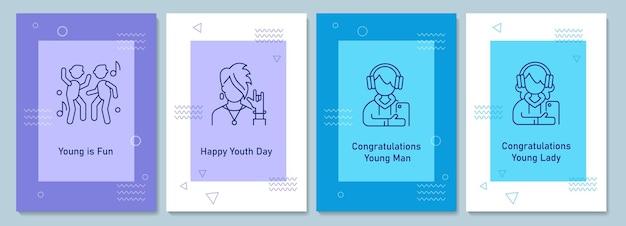 Ежегодный день молодежи празднует открытки с набором иконок линейных глифов. поздравительная открытка с декоративным векторным дизайном. плакат в простом стиле с творческой линейной иллюстрацией. флаер с праздничным пожеланием