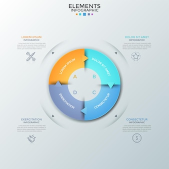 Annular chart divided into 4 colorful equal parts with arrows, linear icons and text boxes. concept of closed production cycle with four steps. modern infographic design template. vector illustration.