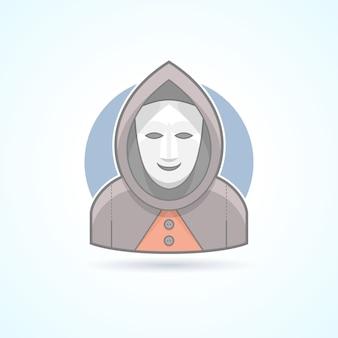 匿名、見知らぬ人、仮面、謎の男のアイコン。アバターと人のイラスト。色付きのアウトラインスタイル。
