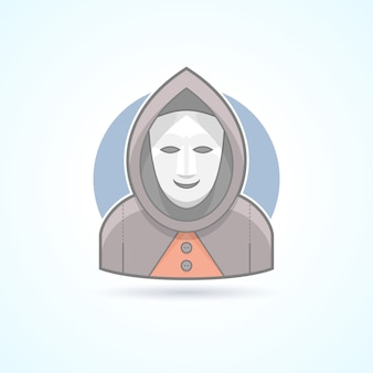 Anonym, stranger, maskman, mysterious man icon. avatar and person illustration.  colored outlined style.