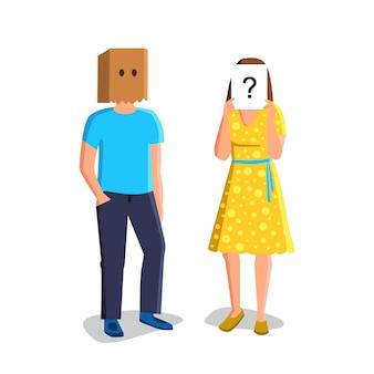 숨겨진 얼굴 벡터를 가진 익명의 알 수 없는 사람들. 머리에 가방을 가진 익명 남자와 물음표가 있는 종이 목록을 들고 있는 여자. 익명의 캐릭터 커플 플랫 만화 일러스트 레이 션