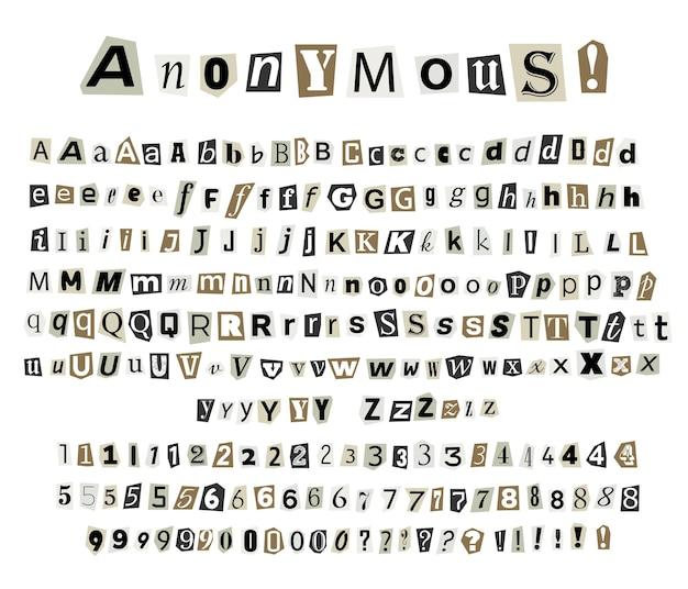 Анонимные криминальные письма, вырезанные из газет и журналов
