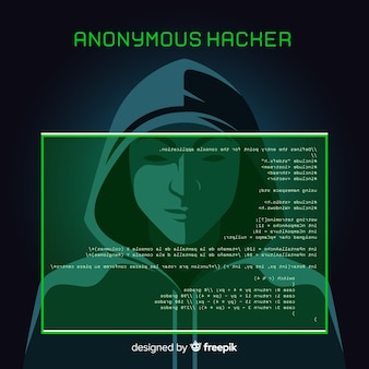 Anonymous hacker concept with flat design