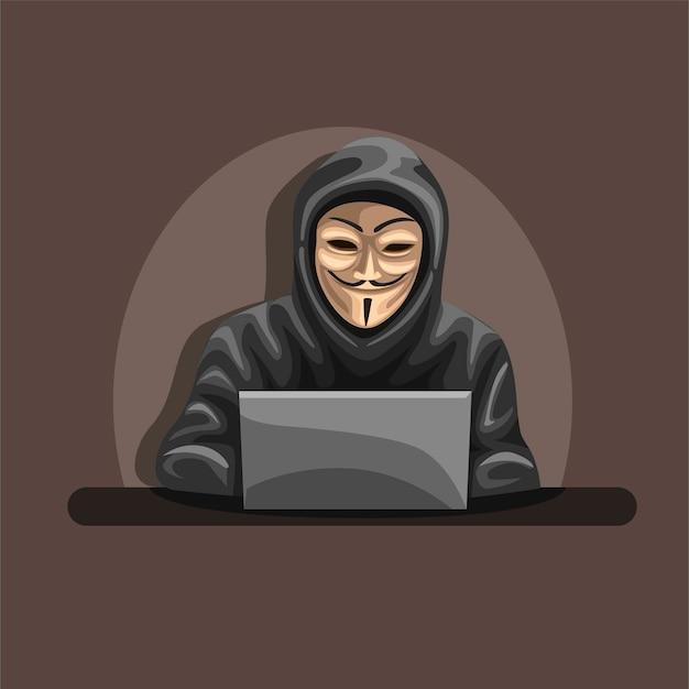 匿名のハッカーは、漫画の前のラップトップのキャラクターの概念でマスクとパーカーを着用します