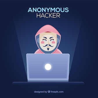 Hacker anonimo con design piatto