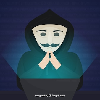 Anonymous hacker with flat design