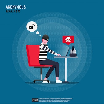 Anonymous hacker with mask character doing cyber crime with his laptop.