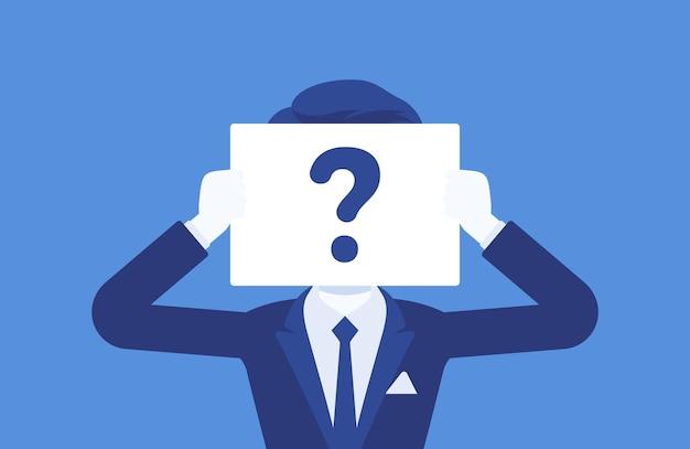 疑問符の付いた匿名の男性。名前で識別されていない男性、不明なユーザー、シークレットプロファイル、企業秘密、あいまいさ、ブラインドデートパートナー。ベクトルイラスト、顔のない文字