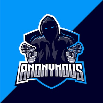 Anonymous mascot esport logo design
