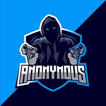 Анонимный талисман киберспорт дизайн логотипа