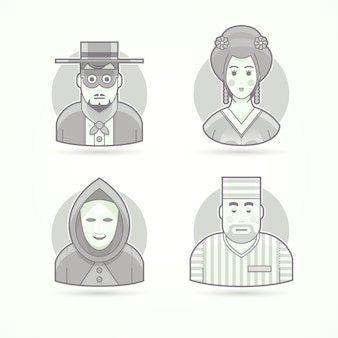 Anonymous, mask man, geisha, prisoner. set of character, avatar and person  illustrations.  black and white outlined style.