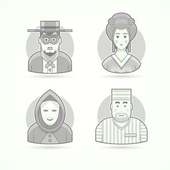 匿名、仮面男、芸者、囚人。キャラクター、アバター、人のイラストのセットです。黒と白のアウトラインスタイル。