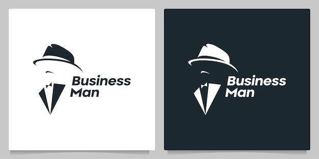 Anonymous people man with tie and hat logo design negative space