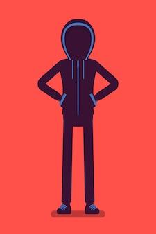 얼굴이 숨겨진 익명의 실루엣. 후드로 덮인 해커 어두운 추상 몸, 이름으로 식별되지 않는 온라인 사람, 얼굴이 없는 알 수 없는 사용자, 사악한 의도로 시크릿. 벡터 일러스트 레이 션