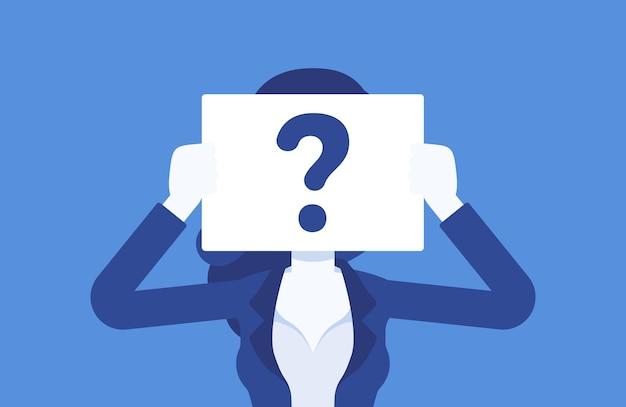 疑問符の付いた匿名の女性。名前で識別されていない女性、顔の見えない不明なユーザー、隠されたプロフィールを持つシークレット、企業秘密、曖昧さ、ブラインドデートのパートナー。ベクトルイラスト