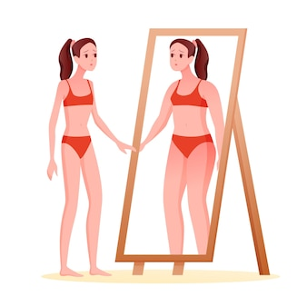 거식증 섭식 장애 개념. 뚱뚱한 과체중 시체를보고 거울을보고 만화 슬림 슬픈 소녀