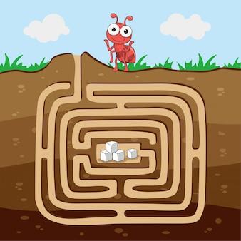 アリは砂糖動物の迷路ゲームを見つけます