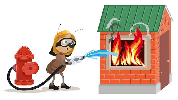 アリの消防士が家を消します