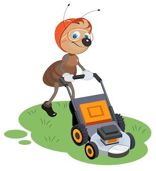 Ant gardener mows lawn. gardener and lawn mower