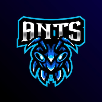 Ant mascot logo esport gaming illustration