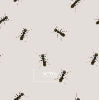 Ant pattern, low poly illustration