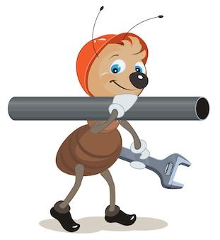 アリの配管工は彼の肩とパイプレンチを持っています。