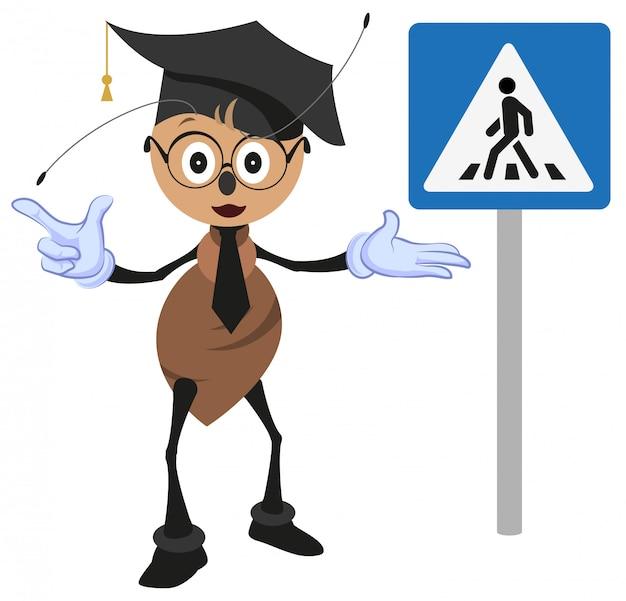 Муравей учитель объясняет правила дорожного движения.
