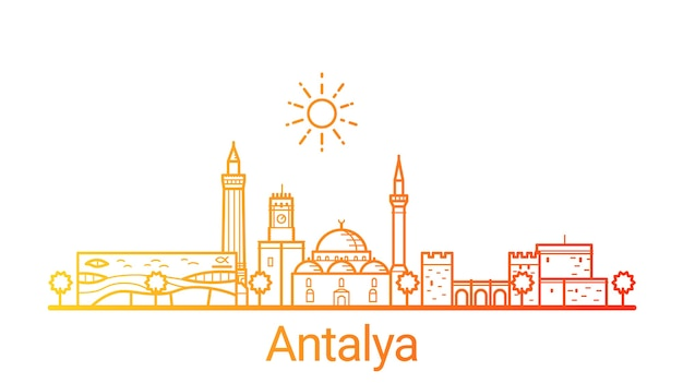 Antalya city colored gradient line
