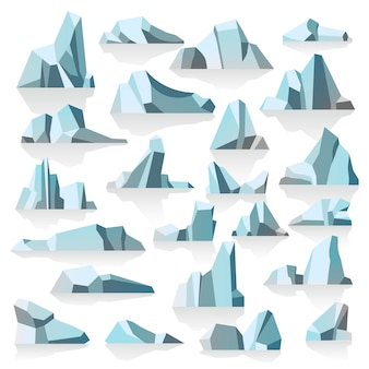 Antarctic or polar icebergs underwater of cold oceans, submerged icy peaks with shadow and reflection. melting masses of show, ecological changes and global warming danger, vector in flat style
