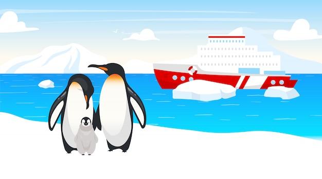 南極の野生生物フラットイラスト。皇帝ペンギン。海洋の飛べない鳥の家族。冬の雪の風景。海でボートします。背景に海に出荷します。北極の動物漫画のキャラクター