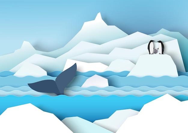 빙하 빙산 펭귄 가족과 고래 벡터 종이 컷 삽화 개미가 있는 남극 풍경