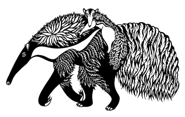 Anteater with a cub on the back black and white graphic vector illustration