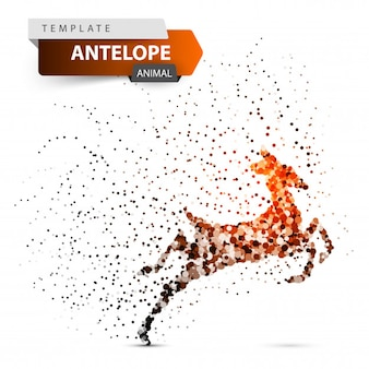 Antelope, duiker, hartebeest, deer gazelle dot illustration